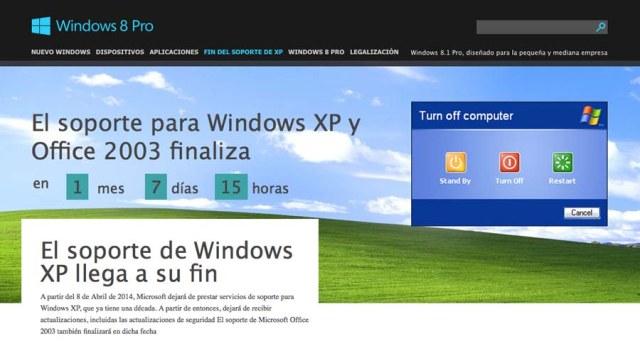 Anuncio fin soporte XP